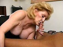 Blonde mature broad just came to one gifted dude in order to suck his long mighty jizzster and make him cum in her mouth as much as he can