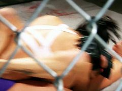 Busty Jessica Drake lies on the ring getting her shaved snatch fucked in sideways pose. She takes facial and later on participates in wicked cat fight with one brunette gal.