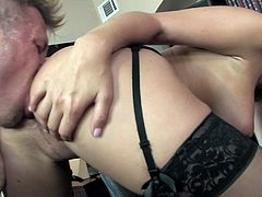 Beautiful babe with big natural tits and a hot ass gets her shaved pussy pounded hard . Watch this hot office slut enjoy hardcore sex.