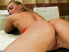 Blonde Kathia Nobili is too horny to stop sucking her mans throbbing love torpedo