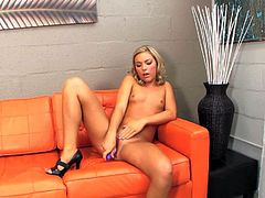 Slender amateur teen blonde Ally Kay with small titties and slim body in high heels only spreads long legs and stuffs tight cunny with violet vibrator at her first interview.
