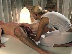 This horny blonde hoe looks so perfect during that sexy massage and she can not wait to make that nasty fucker insane with her hands.