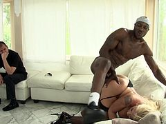Kinky Leya Falcon gets face fucked by big cocked Black man. Then she also gets fucked rough on a sofa. This nasty girl also toys some White guy in his ass with the strap-on.