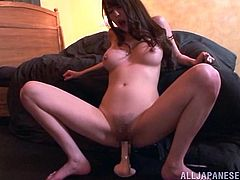 That imaginations are projected on that huge dildo! Babe pretends that she sucks a cock and then rides it on the couch! Hot solo!