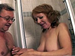 Old people fuck too, and boy they do it even dirtier! Having a background in fucking like a whore, granny Izida shows her old fart that she can still handle cock like in her youth. He plays with her in the shower and after going on bed, she's the one that plays, with her lips. Granny sucks him hard and naughty!