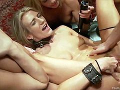 Blonde cutie Amanda may look like a decent, well raised girl, but infact she's a lustful whore, that adores humiliation and a hard fuck. Here she is completely naked, with her sexy thighs spread wide, by other two sluts. Her tight cunt is rubbed and fucked, as the bitches enjoy the show.