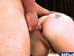 49yo blonde divorced mom fucked by younger hunk in her first porn for some extra money