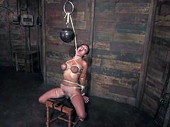 Gorgeous cutie Charley Chase gets bound and humiliated by some man in a basement. Then the guy makes Charley play lesbian games with some blondie.