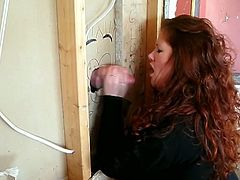 Slutty chick with huge boobs sucks a cock in gloryhole video