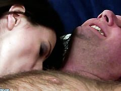 Brunette Ann Marie La Sante shows her love for snatch slamming in steamy pornaction with horny man