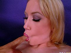 Hot and adorable busty blonde Madison spreads her legs wide open and enjoys steamy pussy licking. Later she gives her head and massages cock with tits standing on her knees.