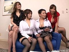 Some fantastic Japanese bitches are having fun with a horny dude. They show their terrific big natural boobs to the man and then titfuck his weiner by turns.