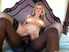 Black Stud Squeezes Boobs Of Tarty MILF