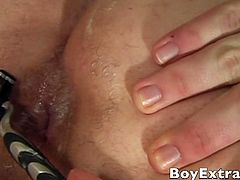 Boy Extra brings you an exciting free porn video where you can see how a naughty twink gets his ass fingered and fucked by his boyfriend, but first, it's shaving time!