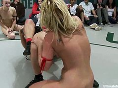 Horny nude sluts Dia Zerva, Jessie Cox, Tara Lynn Foxx and Vendetta are having a tussle on tatami. They wrestle with each other and then play with strapons crazily.