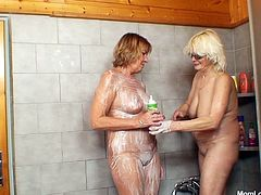 Moms Anastazie and Halina are in the shower, getting dirty and clean in the same time. The two saggy old whores are soaping each other really good and then wash away the foam with water. Now that they are squishy clean, they will surely going to fuck like two old filthy whores. Let's watch and enjoy!