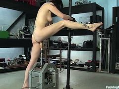 Horny brunette chick strips her clothes off and then tests her brand new fucking machine. It drills her vagina hard and deep just as she likes.