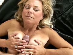 This horny mature siren is going to please this dude with her mouth! She has a long life blowjob sexperience to use on him!