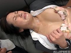 Hot Japanese office girl Minami Asano is playing dirty games with a few dudes. She sucks their wangs obediently and then gets fucked from behind by all dudes by turns.