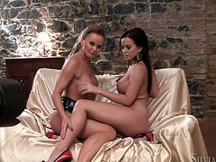 Two busties babes shows great lesbian scene. They touch each other very gentle, but ardently. Wanna see this? Watch this Fame Digital lesbian sex video!