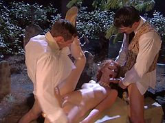Slender redhead babe Marie McCray with natural boobies and arousing heavy make up gets shaved cunny boned by Alan Staford while giving head to Joey Brass in kinky outdoor parody.