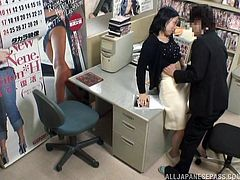 Lewd Japanese girl is playing dirty games with two men in an office. The dudes rub the hottie's vagina and then drill it in missionary position by turns.