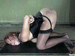 Gorgeous Sabrina Fox ties some girl up and sits on her face. Later on she sucks two dicks with pleasure and also gets nailed.