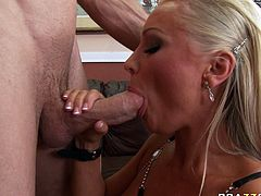 Passionate blonde hooker with big boobs is Diana Doll. Sitting down on her knees she sucks big dick deepthroat. She then gets penetrated in a missionary position.
