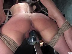 Brunette Mina Leigh gets tied up and spanked by Maitresse Madeline. After that she also gets her ass drilled with a strap-on.