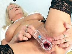 Check out horny grandma in her nurse uniform spreading her legs wide in the doctor's office. She uses the speculum to toy her fat hairy cunt for you till she climax.