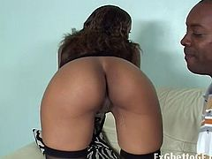 America is a slender ebony babe ready to get fucked. She is wearing a sex black outfit when she sucks this guy's cock. By the time he penetrates her ass hole, she's all naked.