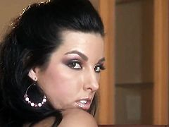 Brianna Jordan with huge knockers and shaved beaver stripping down to her birthday suit and plays with herself