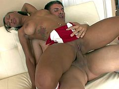 Tall ebony cheerleader Neaveh Givens with big natural tits in red tempting uniform and white socks rides like crazy on Michael Vegas to loud orgasm on a lazy afternoon.