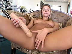 Magnificent blonde girl with nice boobs and booty masturbates. She fingers her pink pussy and then toys it with massive dildo in close-up video.