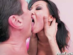 Stunning asian chick Asa Akira never misses opportunities to get her tight asshole stretched wide. She sucked on his big schlong and took it deep into her butthole!