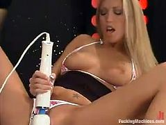 Sweet blonde girl takes her pink bikini off and lies toys her pussy with a vibrator lying on a bar counter. Then this bitch uses pumps to please her tits and gets toyed by the fucking machine.