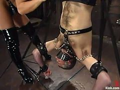 Tanned blonde chick makes some crazy shit with Ed Stone. she ties him up and hangs up upside down. Later on she stuffs his ass with a strap-on.