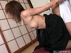 Gorgeous Ai Komori lifts the dress up and gets her vagina licked. Then she gives skillful blowjob and gets nailed on the floor. The guy also cums on her juicy boobs.