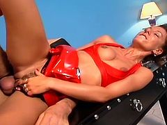 Horny momma cleaning the bathroom gets fucked hard by horny dude in latex.
