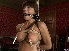 Cherry Torn and Gia Dimarco get tied up and whipped. Later on one of the girls gets her pussy gaped with clothespins.