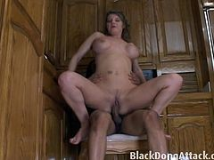 Check out horny brunette milf with amazing tits named Kayla getting her pussy stretched in the kitchen. She got fucked in various positions and just can't get enough!