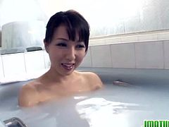 Solo girl session with hot mature Asian lady in bathroom.This sexy brunette Japanese mature is Sayuri Ikuina loves playing with her horny wet pussy in shower.