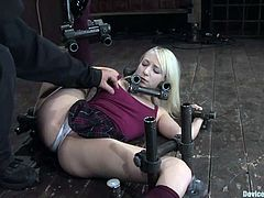 Her legs are so flexible that she can stretch them up high and feel nothing painful. Well, her professor lured her to his basement to make her feel his fetish fantasies!