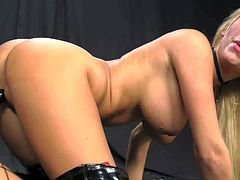 Smoking hot asian porn queen Asa Akira with kinky heavy make up in fishnet stockings fucks with strap on blonde Tasha Reign in red corset and gets perfect ass licked.