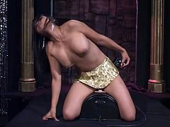 Slim Asian girl poses for the camera. After that she rides her favorite dildo and makes herself cum.