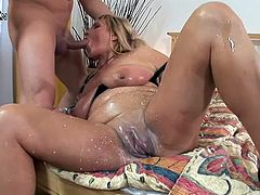 Check out how this randy mother gets her pussy toyed by a pump and her asshole fucked by a hard cock.