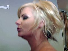 Short haired blonde milf Phoenix Marie with big tits and cheep make up gets banged by Manuel Ferrara and rides on his cock with big round ass in front of mirror.