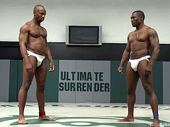 Two nude black gays Jack Hammer and Race Cooper are having a battle on tatami. They wrestle with each other, then suck each other's BBCs and fuck ardently afterwards.