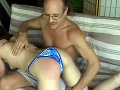This bitch with a hot ass is getting a good spanking which he hopes will teach her to be naughtier