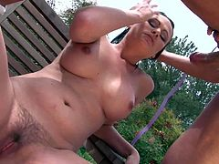 Black haired young babe Ashli Ames with big juicy tits and round bouncing ass makes out with tanned Marco Banderas with ripped muscled body and gets nailed in his backyard.
